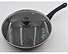 Сковорода с антипригарным мраморным покрытием с крышкой Benson BN-502 24*5 см, фото 2