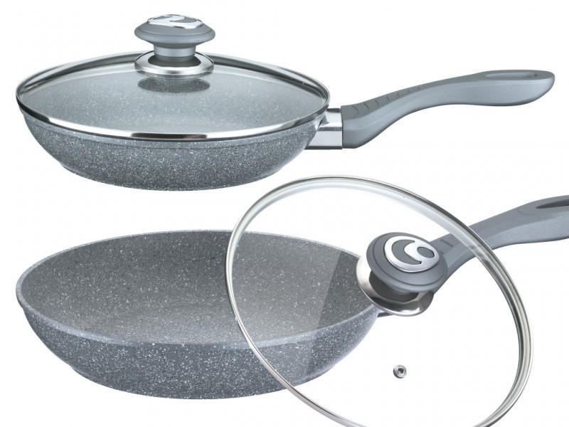 Сковорода с гранитным покрытием Benson BN-515 24*5.5 см | Крышка | Индукция | Бакелитовая ручка