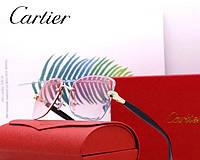 Женские брендовые солнцезащитные очки в стиле Cartier (17063) rose