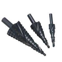 Набір з 3 ступінчастих спіральних свердел по металу HSS 4-12мм 4-20мм 4-32мм