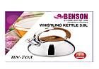 Чайник со свистком из нержавеющей стали Benson BN-703 3 л | Нейлоновая ручка | Индукция, фото 6