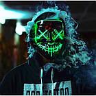 """Светящаяся неоновая LED маска """"Судная ночь""""   Светящаяся маска   Синяя, фото 4"""