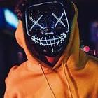 """Светящаяся неоновая LED маска """"Судная ночь""""   Светящаяся маска   Синяя, фото 5"""