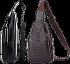 Мужская сумка - кобура через плечо Alligator | Черная, фото 9