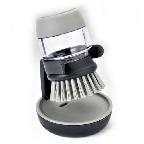 Кухонная щётка для мытья с дозатором для жидкого мыла Jesopb Soap Brush   Серая