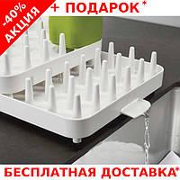 Сушилка для посуды с водостоком 3 отделения Connect 7026 пластиковая настольная, фото 1