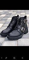 Зимние черные кожаные ботинки с лямками