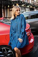 Женское джинсовое платье-рубашка оверсайз (р.42-48)