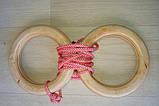 Дерев'яні гімнастичні кільця дитячі (рожеві) плюс Канат хб 26 мм для шведської стінки, фото 2