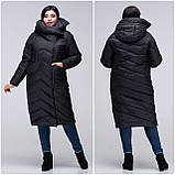 Модное зимнее женское пальто-кокон VS 197 с красивым воротником, фото 2