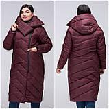 Модное зимнее женское пальто-кокон VS 197 с красивым воротником, фото 4