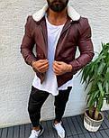 Чоловіча шкіряна куртка-косуха кожанка осіння весняна бордова з хутром. Фото в живу, фото 2