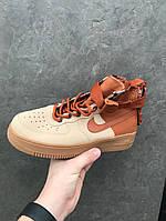 Кроссовки мужские Nike Air Force Hight Brown осенние удобные высокие найки в коричневом цвете, ТОП-реплика