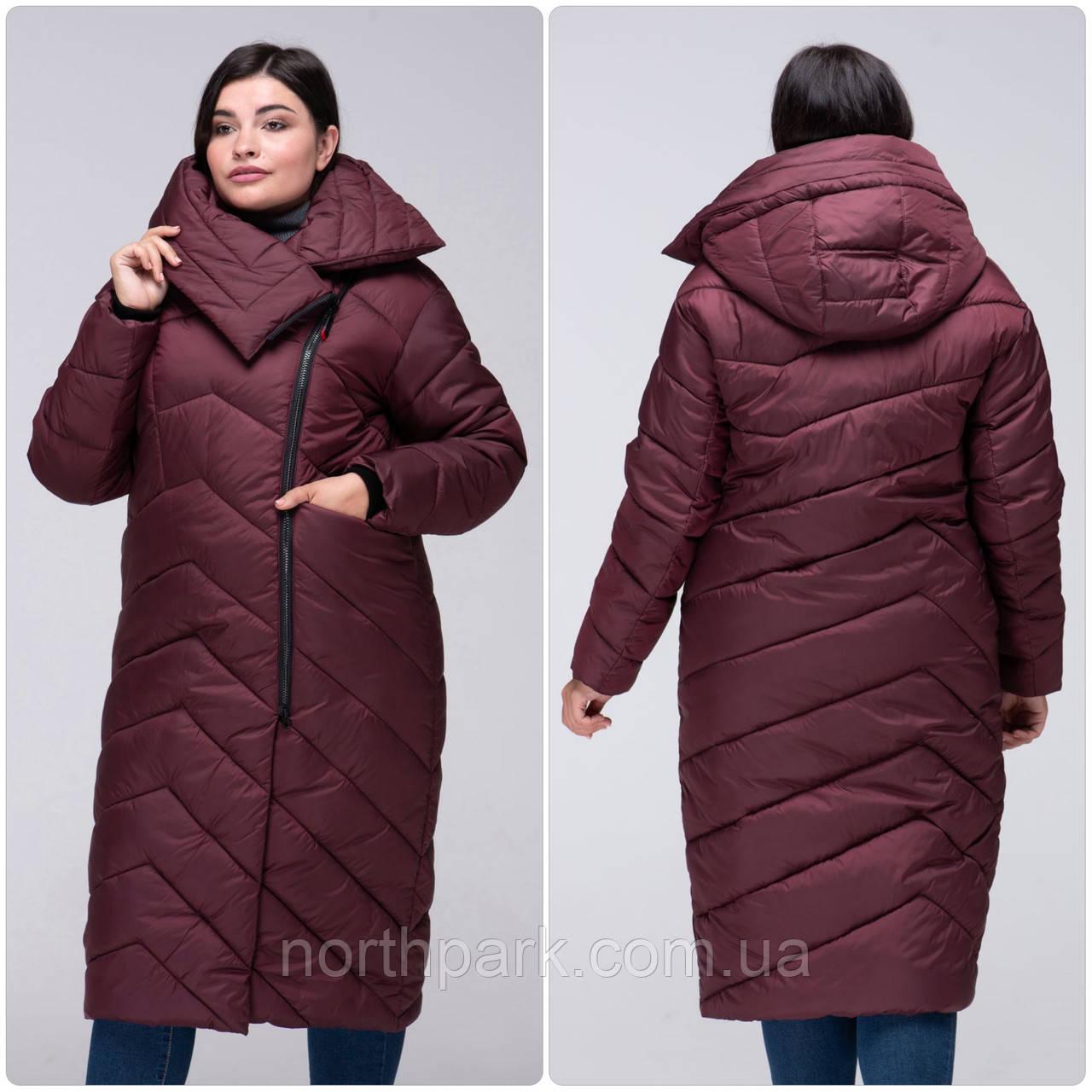 Модное зимнее женское пальто-кокон VS 197 с красивым воротником Бордовый, 44