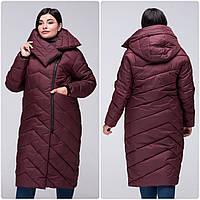 Модное зимнее женское пальто-кокон VS 197 с красивым воротником Бордовый, 44, фото 1
