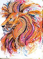 """Набор для вышивки бисером на натуральном художественном холсте """"Огнегривый лев"""""""