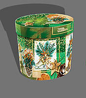 Картонная подарочная упаковка, новогодний тубус, Merry Cristmas, 17,5х16,5см