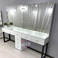 """Визажный стол для двоих мастеров """"Лофт"""" с ручками кристалами и стеклом на столешнице"""