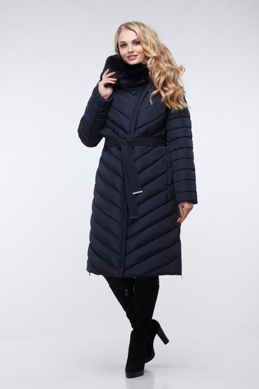 Зимовий жіночий пуховик / пальто Фелиция 2 т.синій  розмір 44 46 48 50 52 54 56 58 60