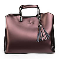 Стильная женская сумка из натуральной кожи на 3 отделения коричневая