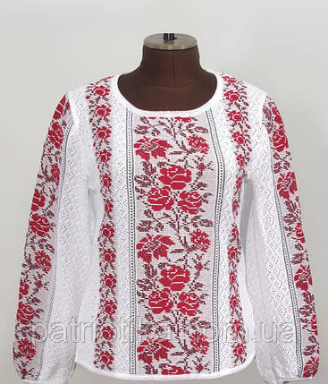 Вязаная вышиванка Розы красные х/б | В'язана вишиванка Троянди червоні х/б, фото 2