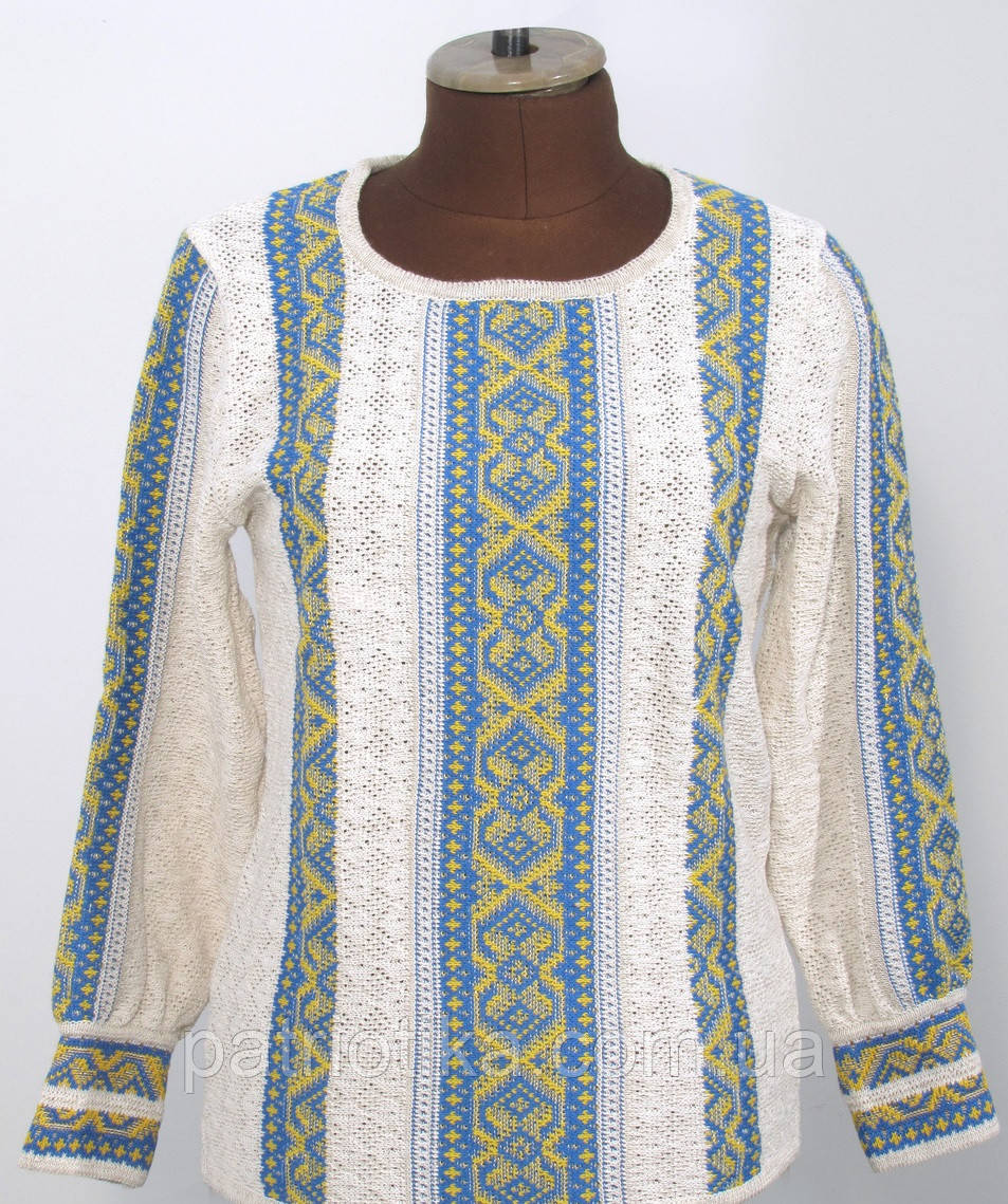 Вязаная рубашка-вышиванка Маруся желто-голубая   В'язана сорочка-вишиванка Маруся жовто-блакитна
