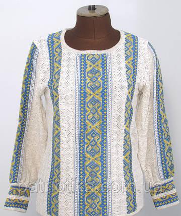 Вязаная рубашка-вышиванка Маруся желто-голубая   В'язана сорочка-вишиванка Маруся жовто-блакитна, фото 2