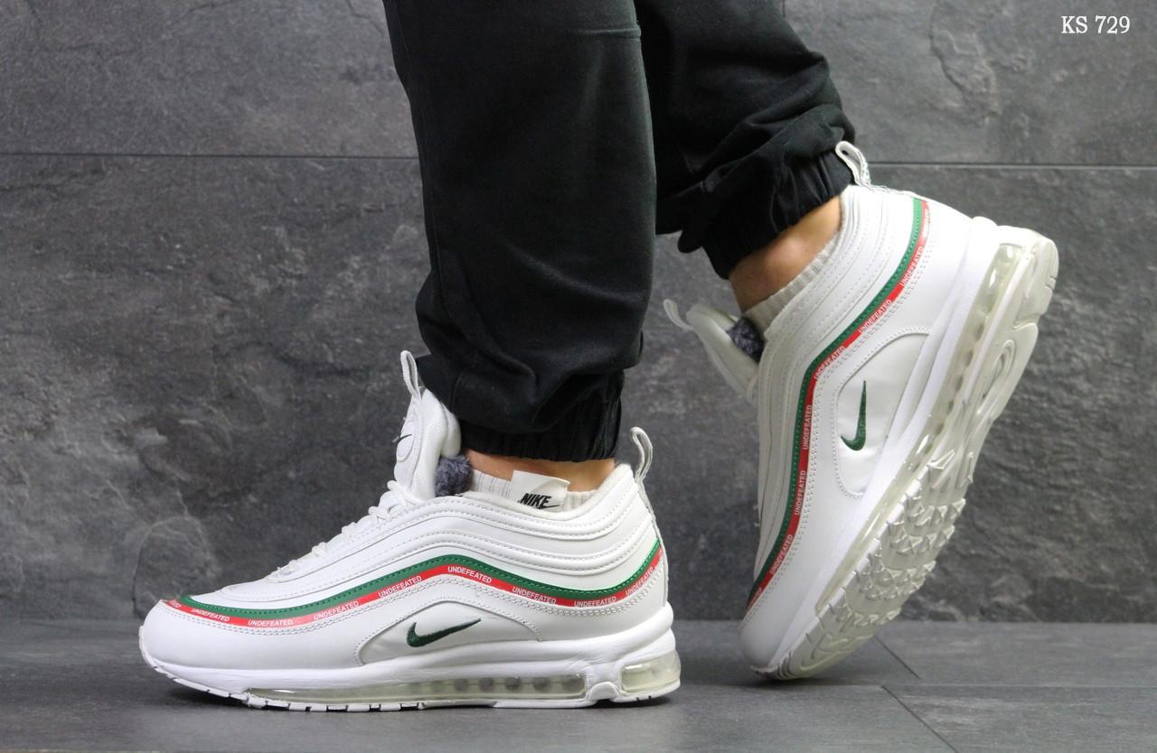 Мужские зимние кроссовки на меху в стиле Nike 97, белые 44 (28,3 см)
