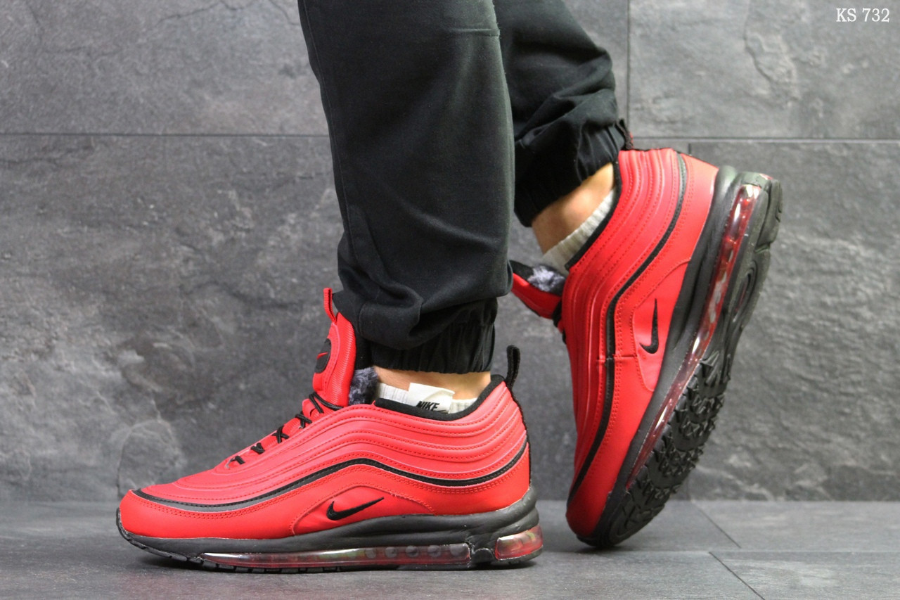 Мужские зимние кроссовки на меху в стиле Nike 97, красные 44 (28,3 см)