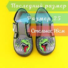 Тапочки на мальчика Дино детская текстильная обувь Waldi р.25