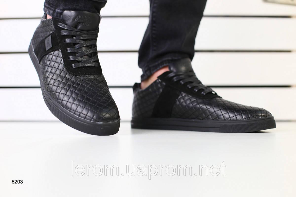 Мужские спортивные туфли черные кожаные с замшевыми вставками