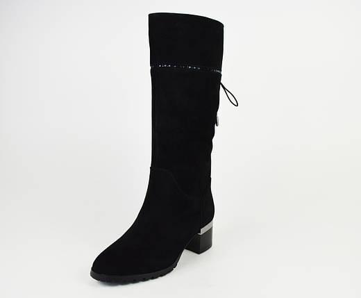 Сапоги женские на каблуке замша 47821, фото 2