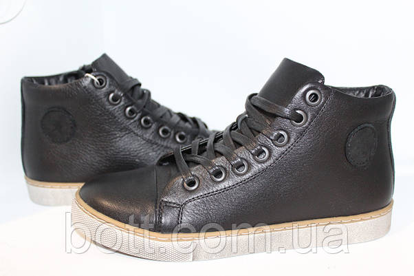 Черные кожаные конверсы, фото 3