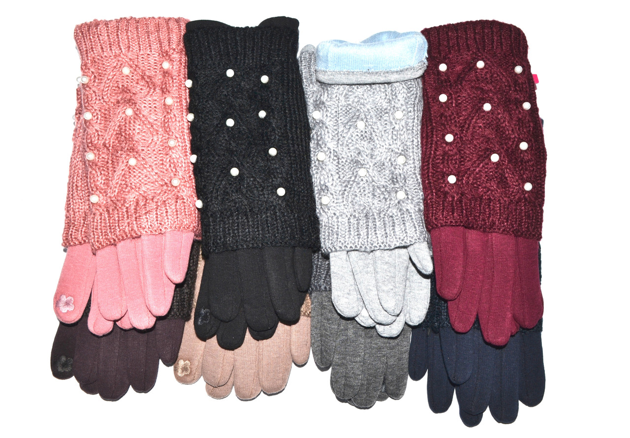 Женские сенсорные перчатки/вязка (митенки) 12 пар оптом