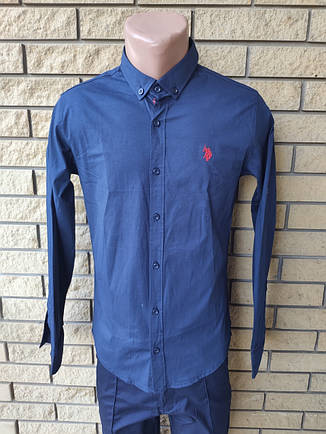Рубашка мужская коттоновая стрейчевая брендовая высокого качества  реплика U.S. POLO, Турция, фото 2