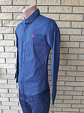Рубашка мужская коттоновая стрейчевая брендовая высокого качества  реплика U.S. POLO, Турция, фото 3