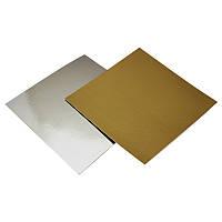 Подложка под торт квадратная, золото- серебро, 25 * 25 см
