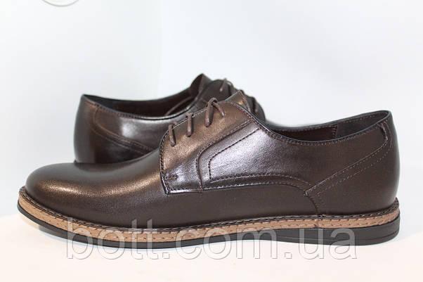Коричневые кожаные туфли, фото 2