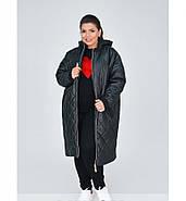 / Размеры 48,50,52,54,56-58,60-62 / Женская стильная и тёплая длинная куртка батал / 1859-1-Черный, фото 2