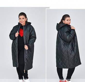 / Размеры 48,50,52,54,56-58,60-62 / Женская стильная и тёплая длинная куртка батал / 1859-1-Черный