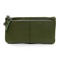 Женский кожаный кошелек-косметичка  A00276-5 green
