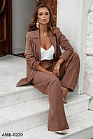 Женский стильный брючный костюм с пиджаком С, М +большие размеры, фото 1