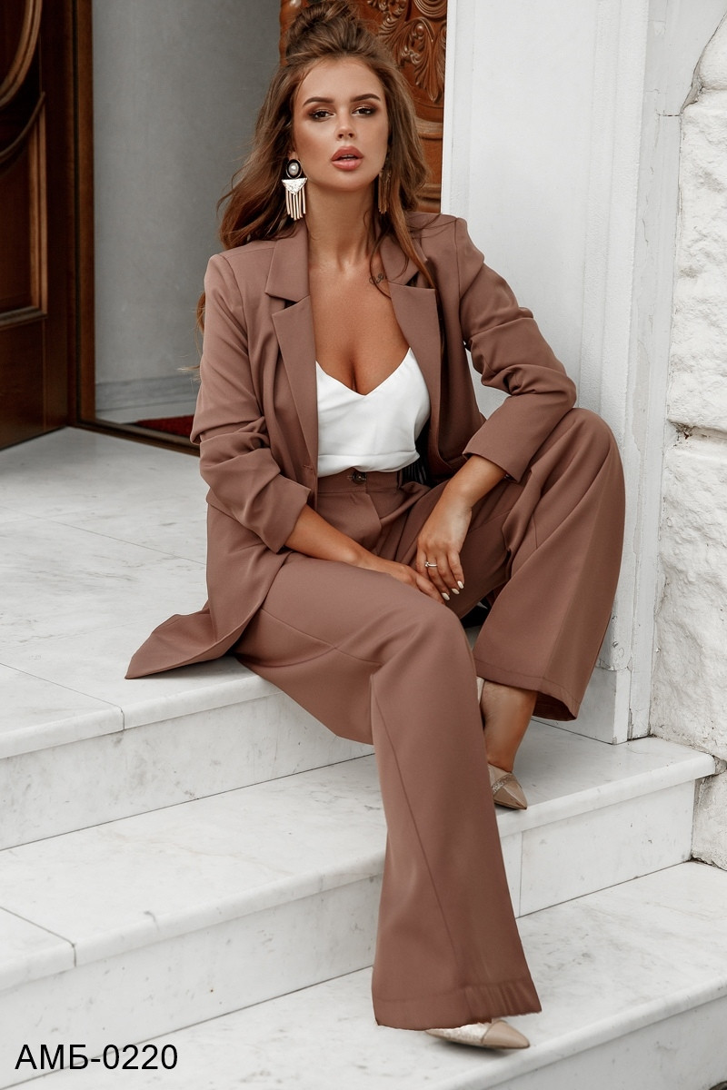 Женский стильный брючный костюм с пиджаком С, М +большие размеры