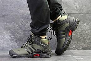 Мужские зимние кроссовки на меху в стиле Adidas Climaproof, зеленые 41 (27 см)