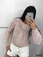 Вязаный женский объемный свитер из полушерсти с узором 8204593