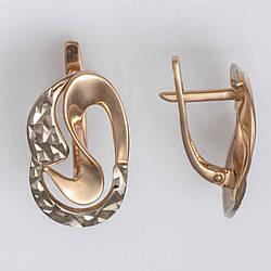 Золотые серьги с алмазной гранью. СП20274А