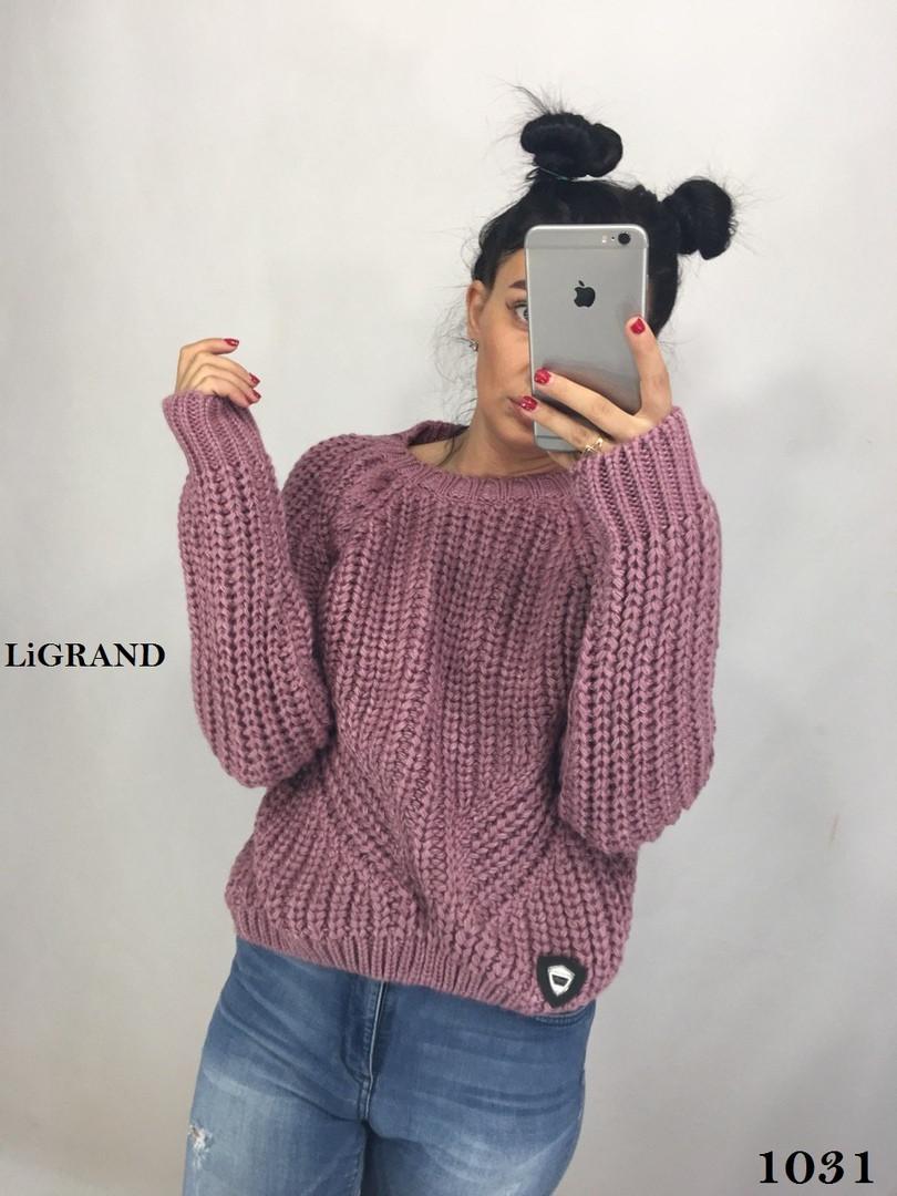 Объемный свободный женский вязаный свитер в расцветках 8204596