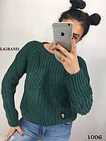 Женский свитер крупной вязки из полушерсти с узором 8204597