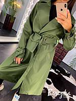 Женский тренч на запах с сумкой на поясе и ремешками на рукавах 6602195Е
