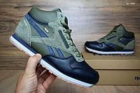 Мужские зимние кроссовки в стиле Reebok Classic, зеленые с синим высокие кожа 44 (28 см)